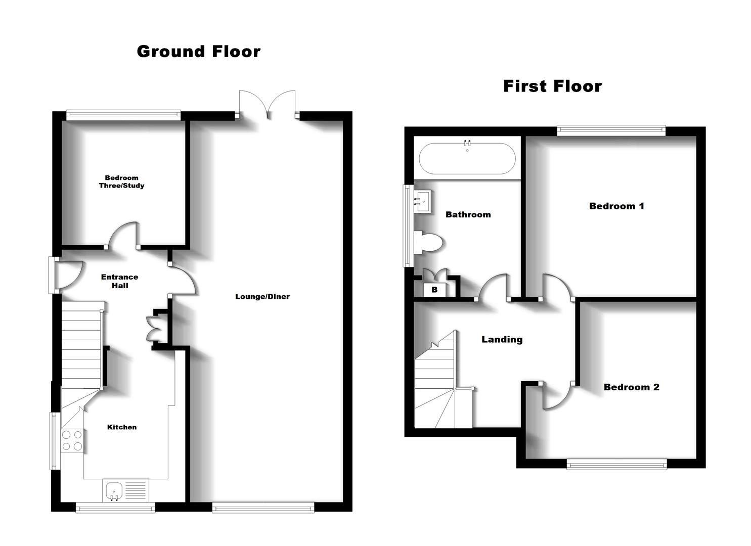 Floorplans For Plantagenet Drive, Woodlands, Rugby