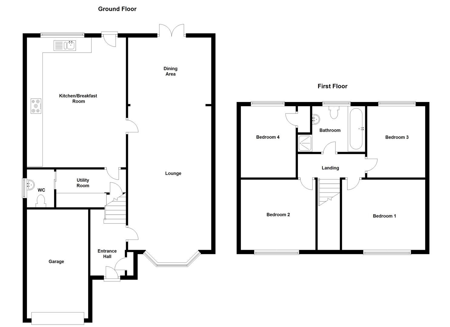 Floorplans For Sandford Way, Dunchurch, Rugby