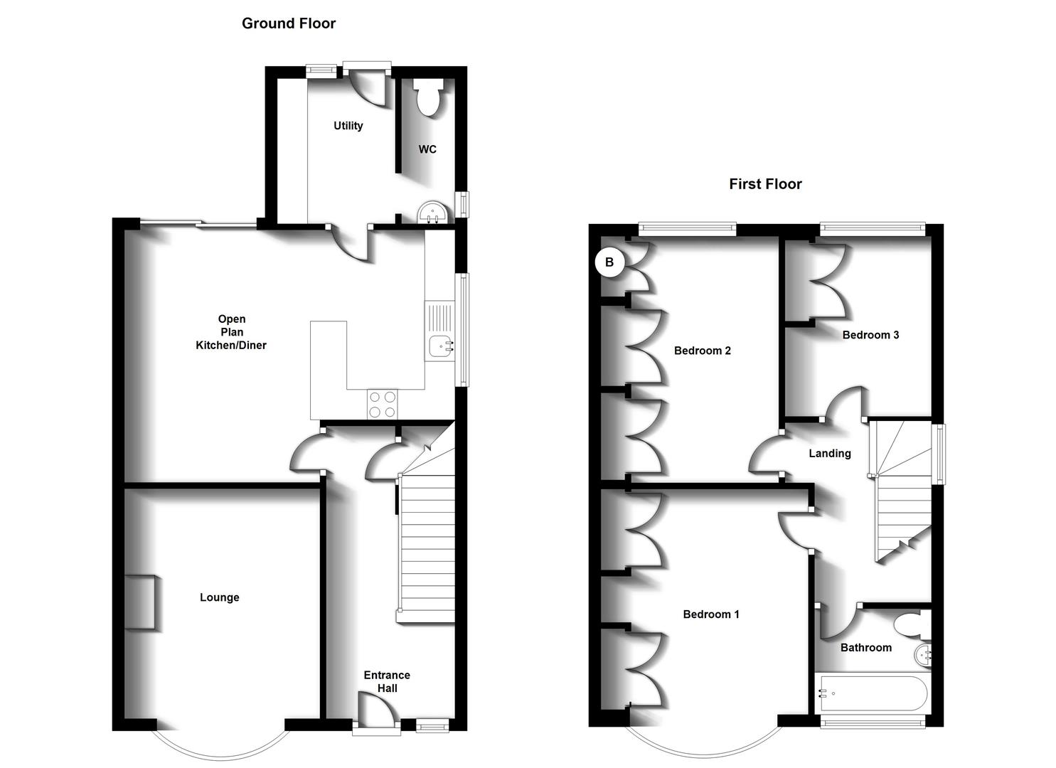 Floorplans For Wheatfield Road, Bilton, Rugby