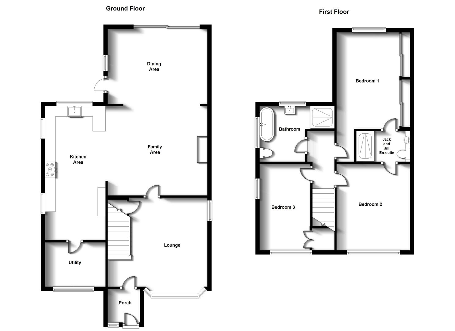 Floorplans For Southey Road, Shakespeare Gardens, Rugby