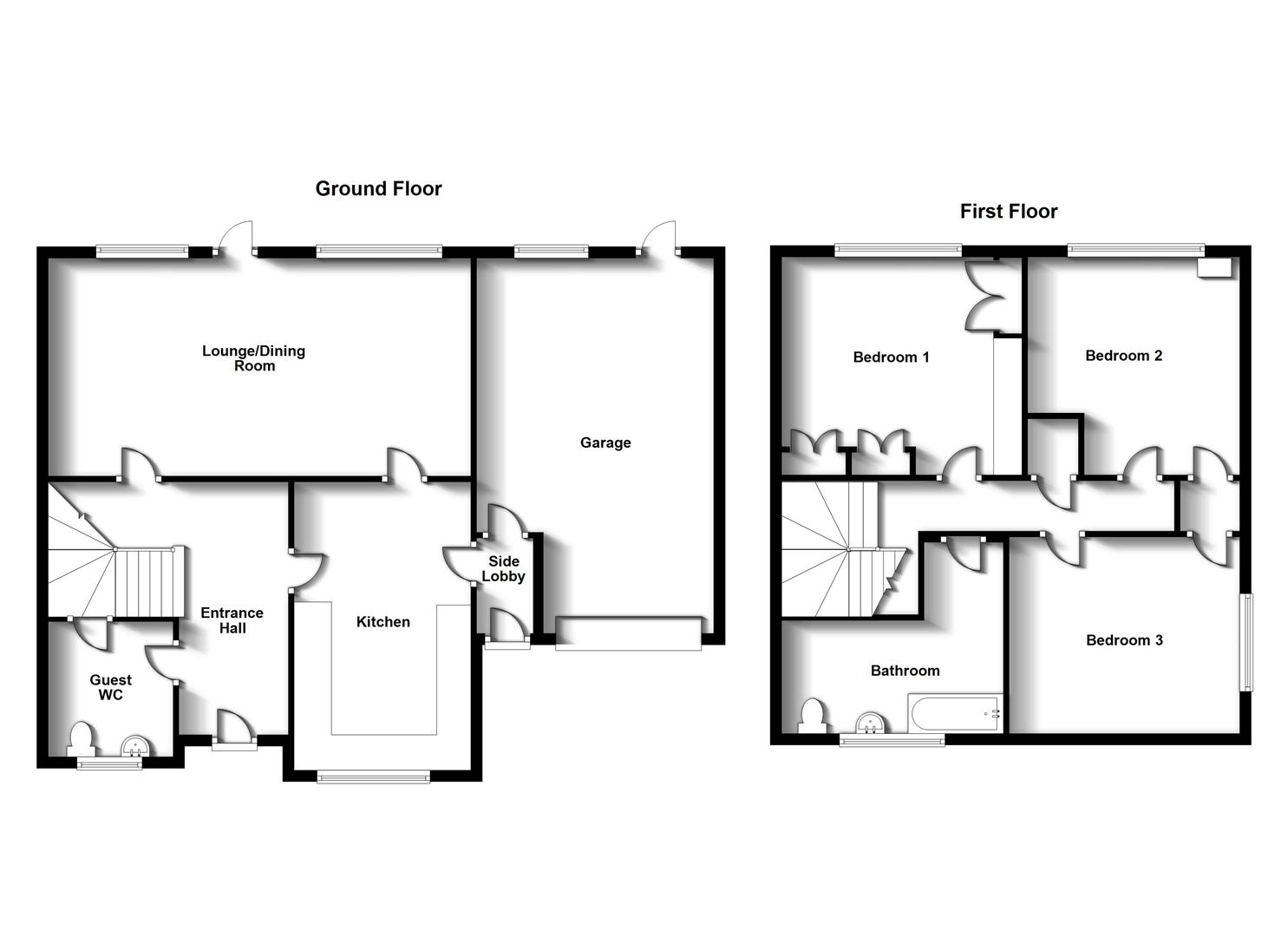 Floorplans For Howard Close, Dunchurch, Rugby