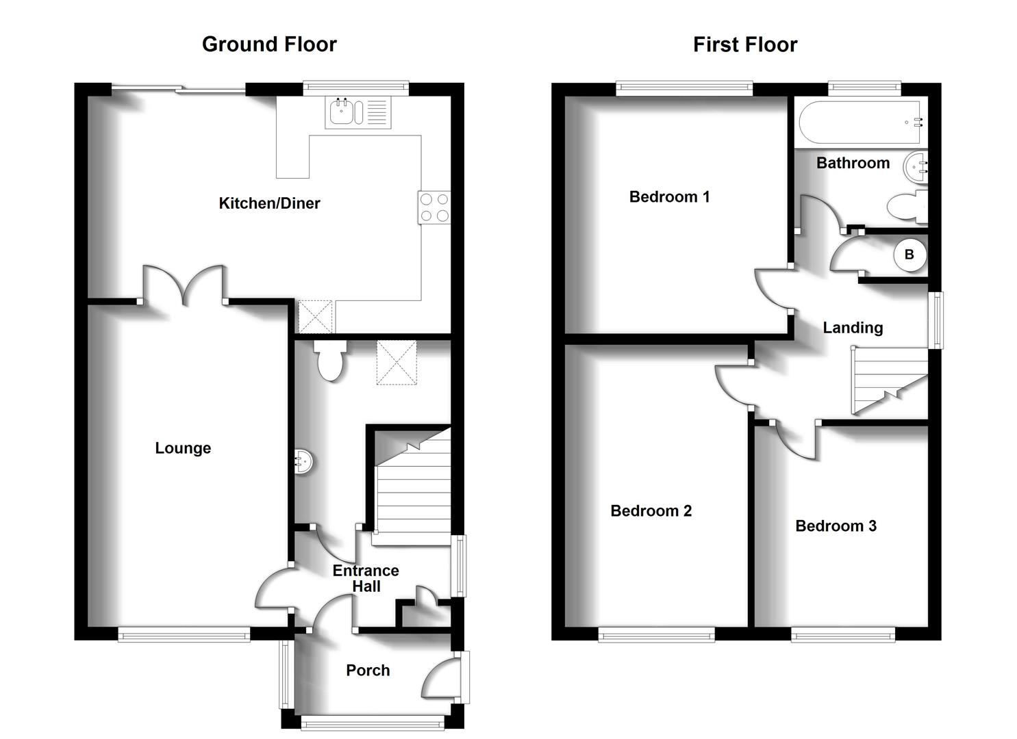 Floorplans For Hardy Close, Bilton, Rugby