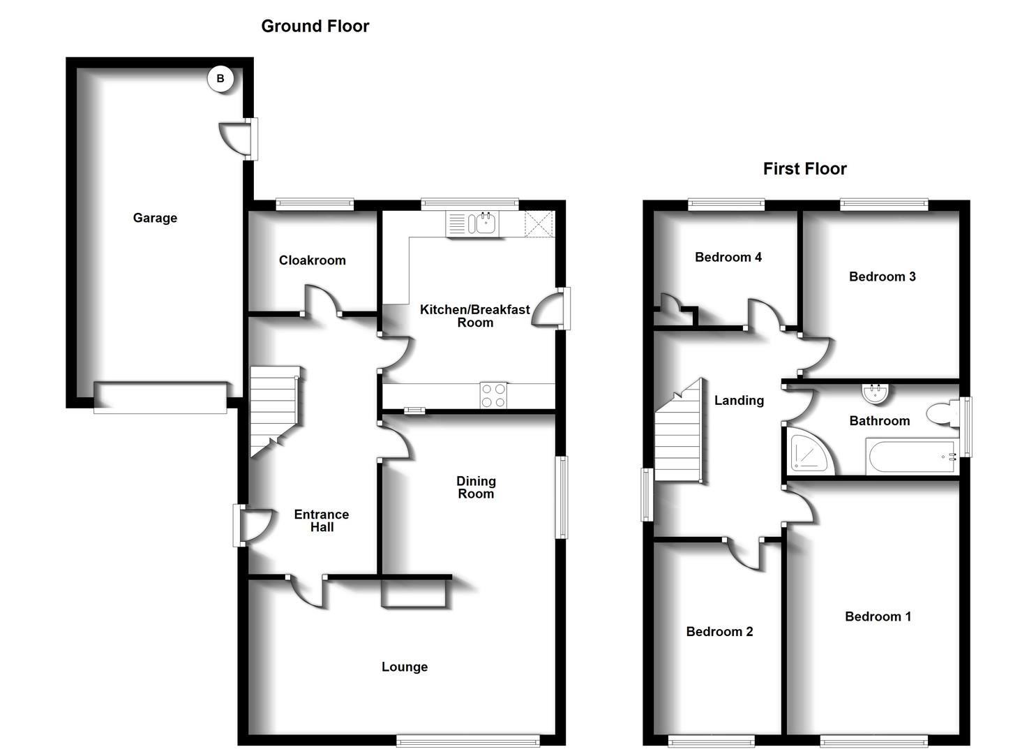 Floorplans For Duncan Drive, Bilton, Rugby