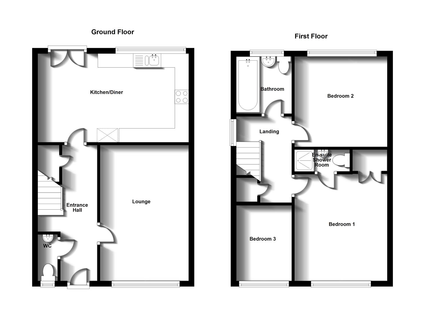 Floorplans For Roundhouse Drive, Cawston, Rugby