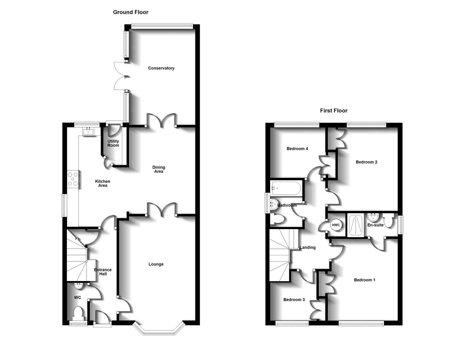 Floorplans For Mellish Road, Bilton,  Rugby