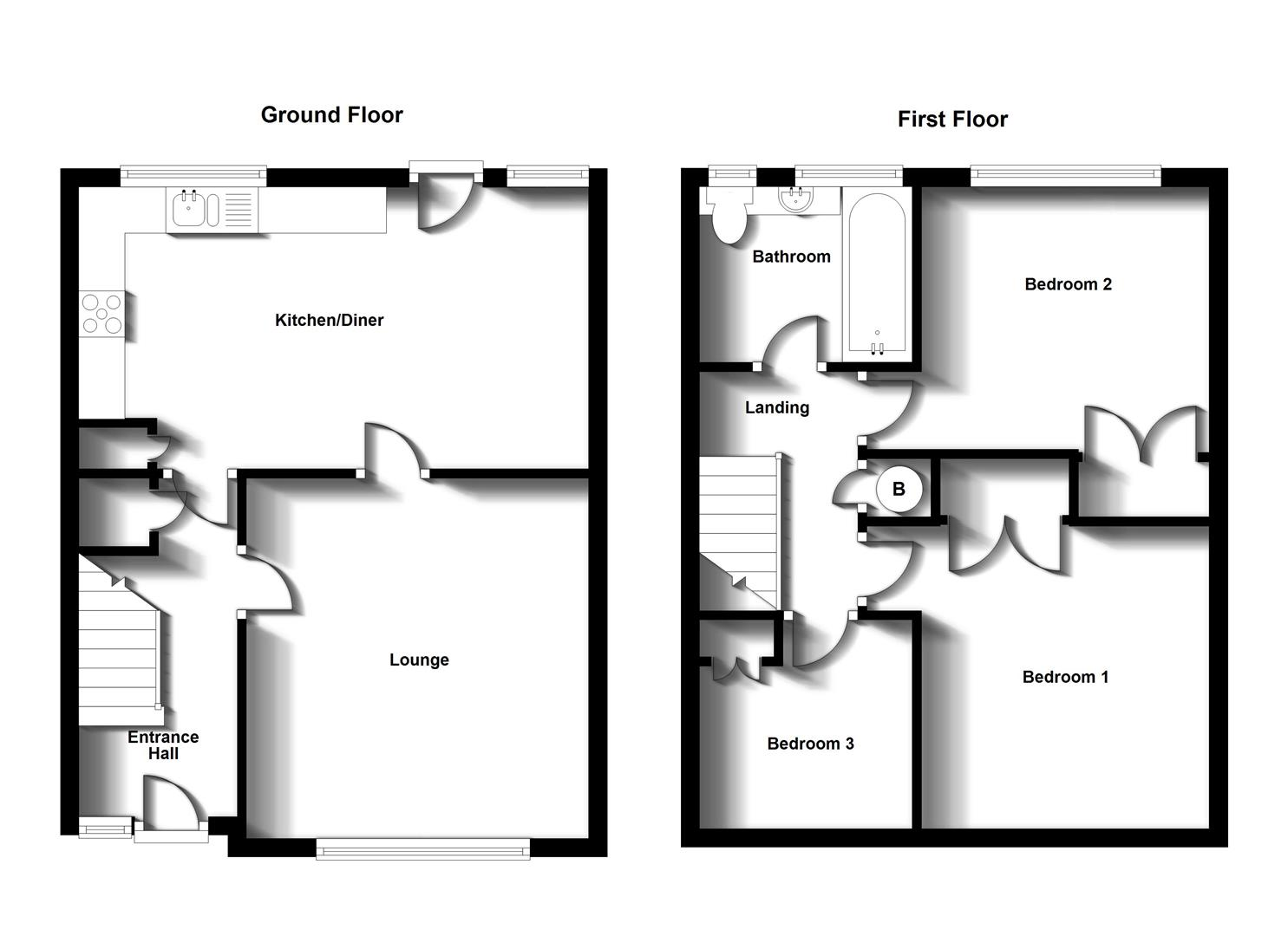 Floorplans For Langdale Close, Brownsover, Rugby
